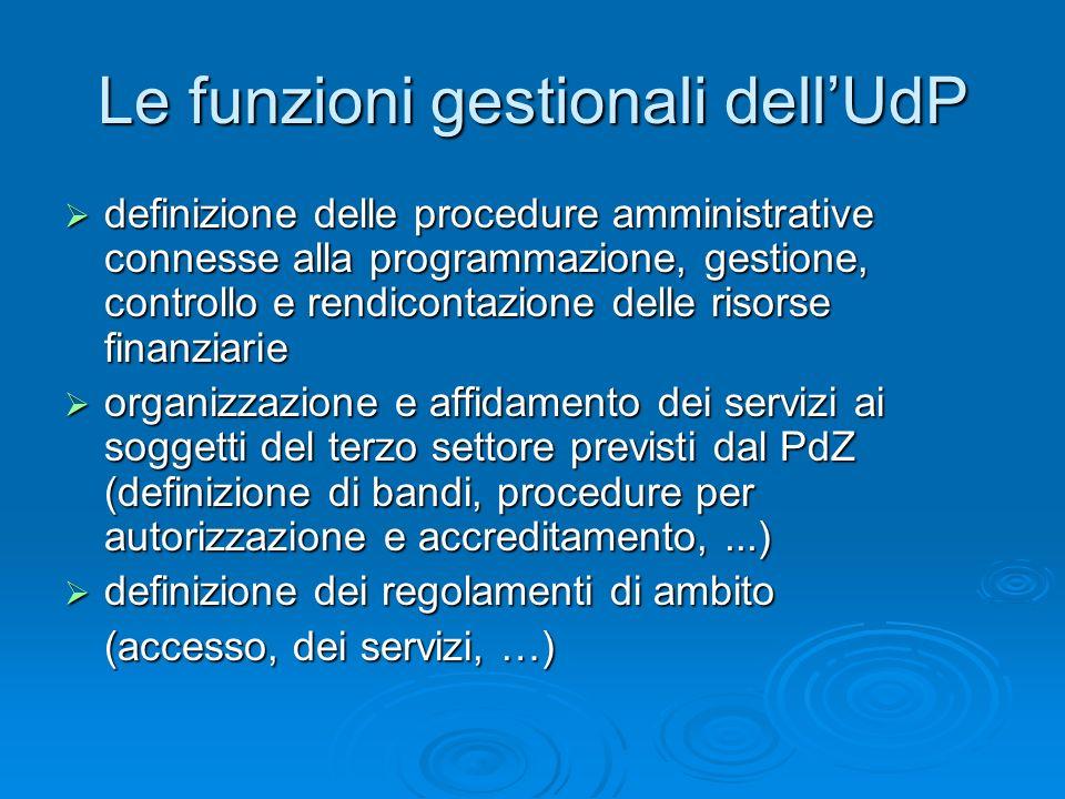 Le funzioni gestionali dellUdP definizione delle procedure amministrative connesse alla programmazione, gestione, controllo e rendicontazione delle ri