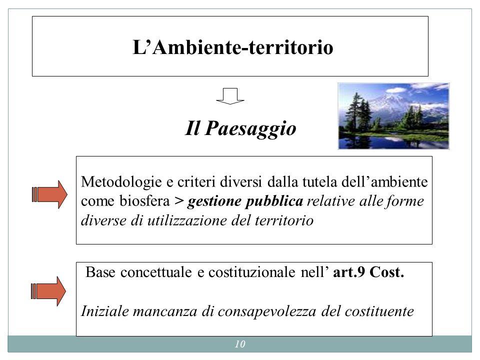 10 LAmbiente-territorio Metodologie e criteri diversi dalla tutela dellambiente come biosfera > gestione pubblica relative alle forme diverse di utili