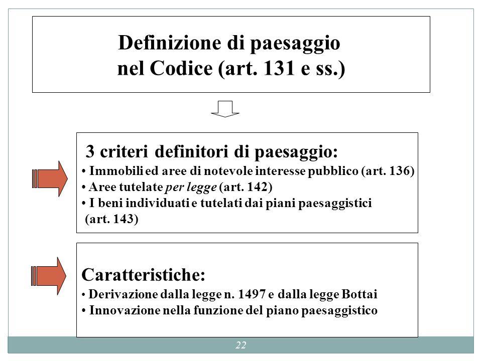 22 Definizione di paesaggio nel Codice (art. 131 e ss.) 3 criteri definitori di paesaggio: Immobili ed aree di notevole interesse pubblico (art. 136)