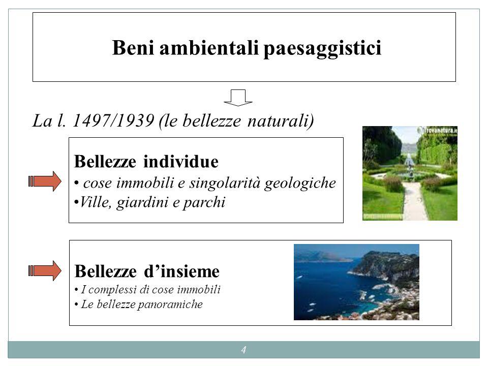 4 Beni ambientali paesaggistici La l. 1497/1939 (le bellezze naturali) Bellezze individue cose immobili e singolarità geologiche Ville, giardini e par