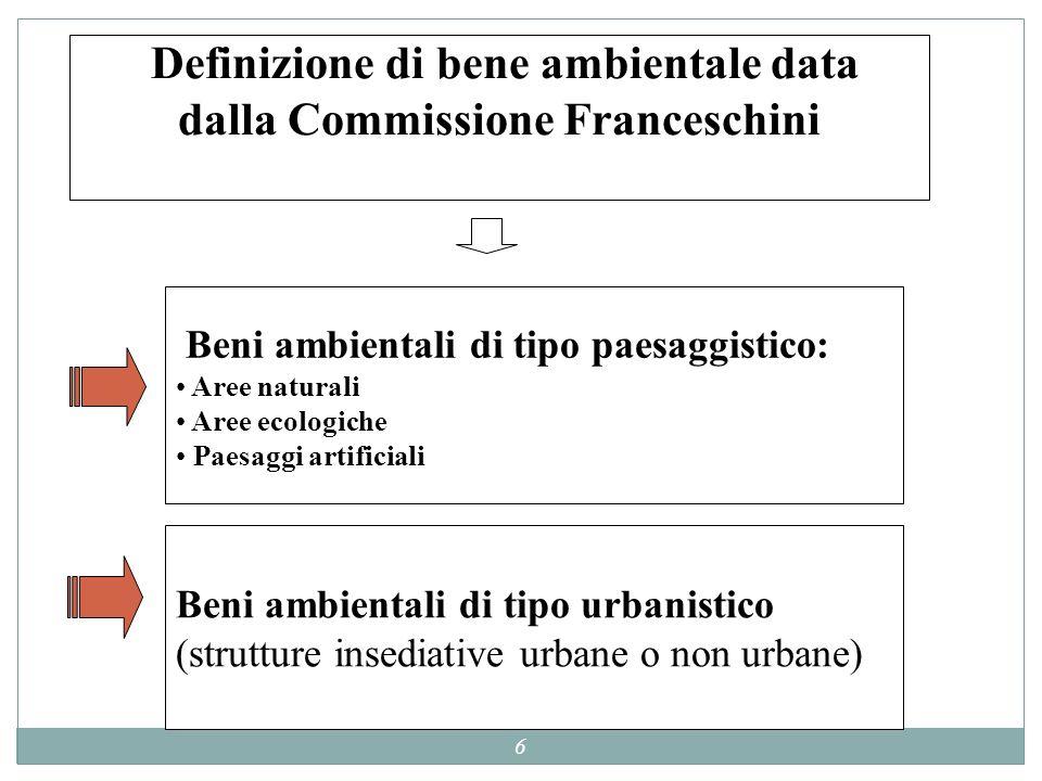6 Definizione di bene ambientale data dalla Commissione Franceschini Beni ambientali di tipo paesaggistico: Aree naturali Aree ecologiche Paesaggi art