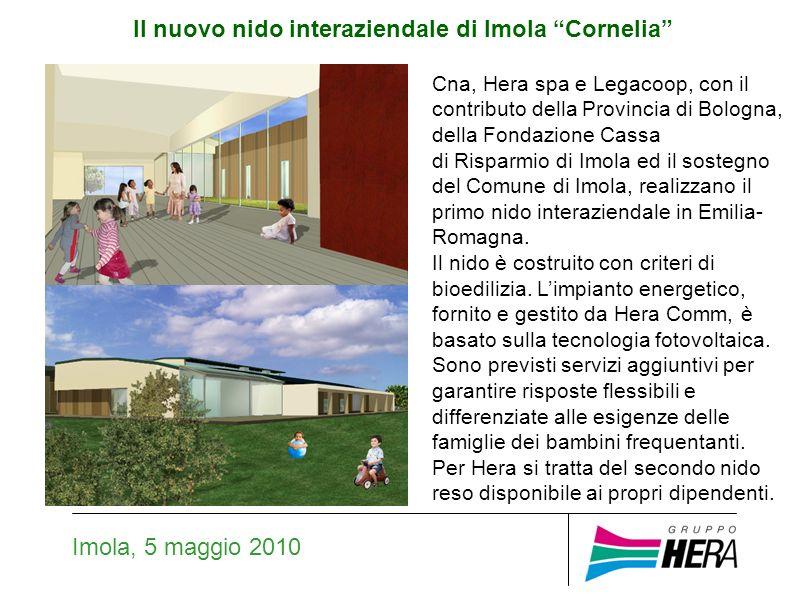 Il nuovo nido interaziendale di Imola Cornelia Imola, 5 maggio 2010 Cna, Hera spa e Legacoop, con il contributo della Provincia di Bologna, della Fondazione Cassa di Risparmio di Imola ed il sostegno del Comune di Imola, realizzano il primo nido interaziendale in Emilia- Romagna.