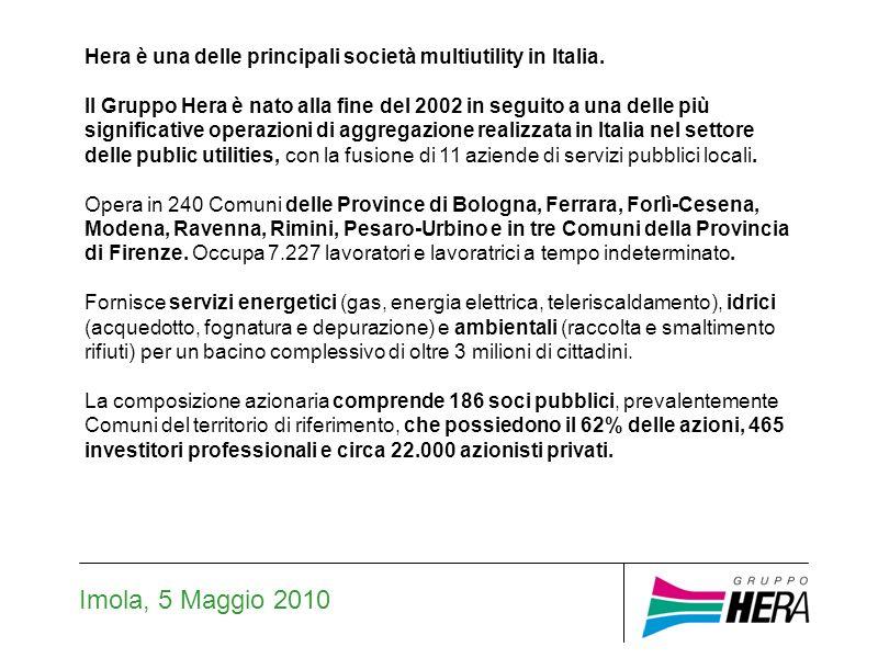 Lambiente: la raccolta differenziata (Hera Sot Imola-Faenza) Imola, 5 Maggio 2010 In Italia, la raccolta differenziata è stata nel 2008 pari al 30,6% (Fonte: Rapporto Istituto Superiore per la Protezione e la Ricerca Ambientale 2009).