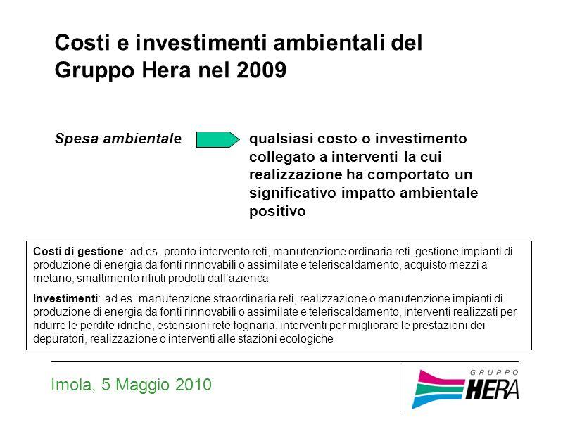 Imola, 5 Maggio 2010 Costi e investimenti ambientali del Gruppo Hera nel 2009 Spesa ambientalequalsiasi costo o investimento collegato a interventi la cui realizzazione ha comportato un significativo impatto ambientale positivo Costi di gestione: ad es.