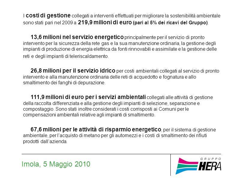 Imola, 5 Maggio 2010 Gli investimenti ambientali sono stati pari nel 2009 a 173 milioni di euro (pari al 44% del totale degli investimenti operativi effettuati dal Gruppo) 52,9 milioni nel servizio energetico per attività finalizzate alla manutenzione straordinaria delle reti gas, realizzazione o manutenzione di impianti di produzione di energia elettrica da fonti rinnovabili o assimilate, gestione reti e impianti di teleriscaldamento.