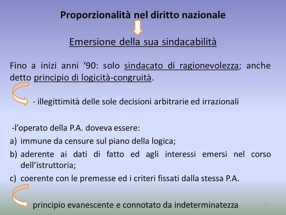 Proporzionalità nel diritto nazionale Emersione della sua sindacabilità Fino a inizi anni 90: solo sindacato di ragionevolezza; anche detto principio