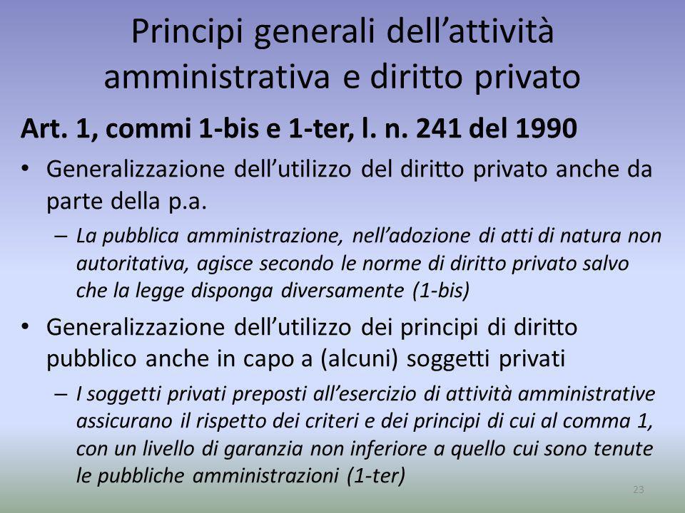 Principi generali dellattività amministrativa e diritto privato Art. 1, commi 1-bis e 1-ter, l. n. 241 del 1990 Generalizzazione dellutilizzo del diri