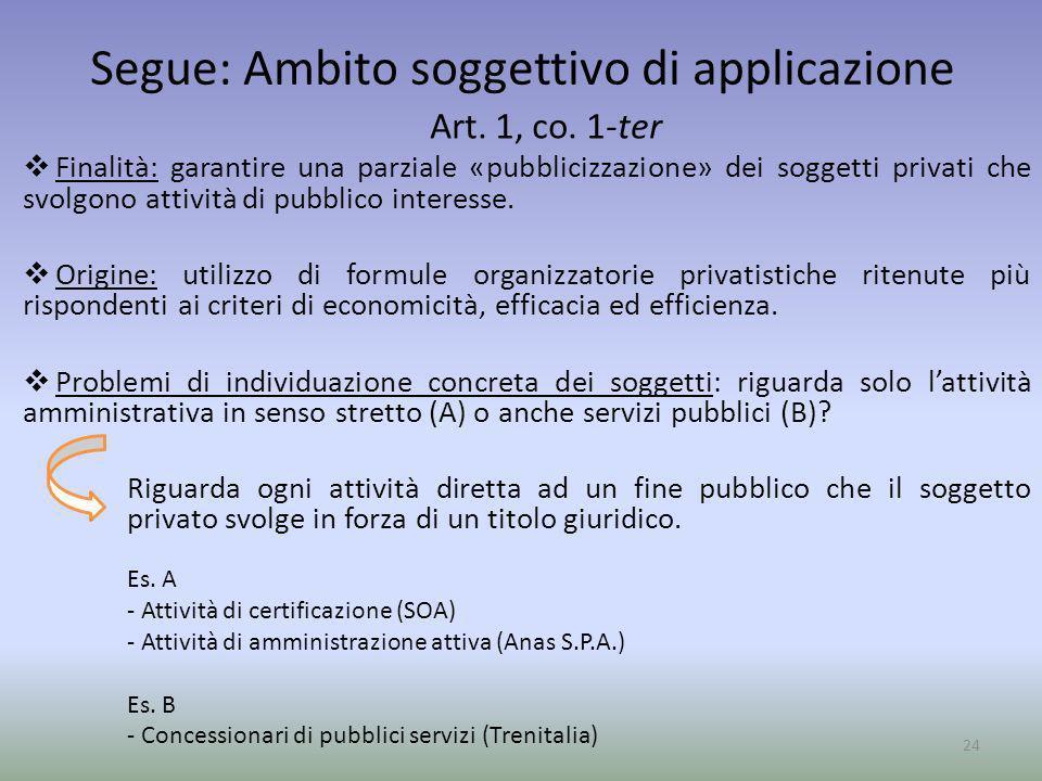 Segue: Ambito soggettivo di applicazione Art. 1, co. 1-ter Finalità: garantire una parziale «pubblicizzazione» dei soggetti privati che svolgono attiv