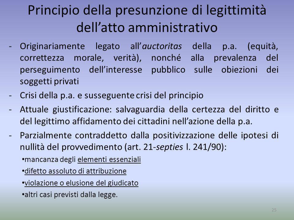 Principio della presunzione di legittimità dellatto amministrativo -Originariamente legato allauctoritas della p.a. (equità, correttezza morale, verit