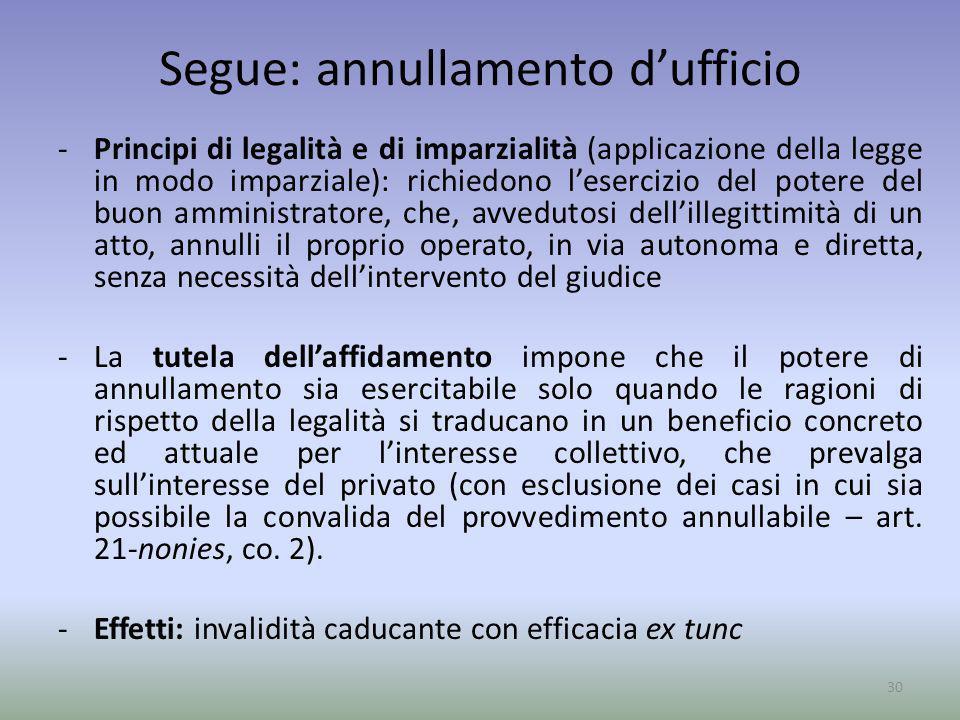 Segue: annullamento dufficio -Principi di legalità e di imparzialità (applicazione della legge in modo imparziale): richiedono lesercizio del potere d