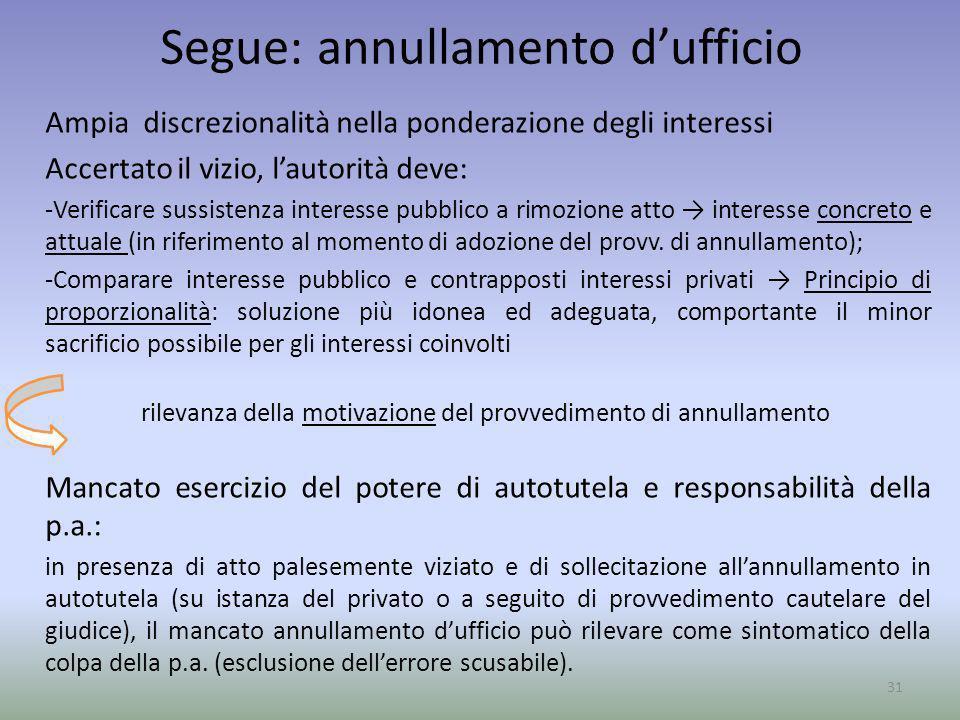Segue: annullamento dufficio Ampia discrezionalità nella ponderazione degli interessi Accertato il vizio, lautorità deve: -Verificare sussistenza inte