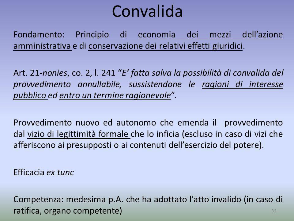 Convalida Fondamento: Principio di economia dei mezzi dellazione amministrativa e di conservazione dei relativi effetti giuridici. Art. 21-nonies, co.