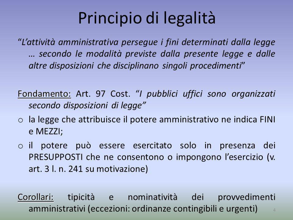 Principio di legalità Lattività amministrativa persegue i fini determinati dalla legge … secondo le modalità previste dalla presente legge e dalle alt