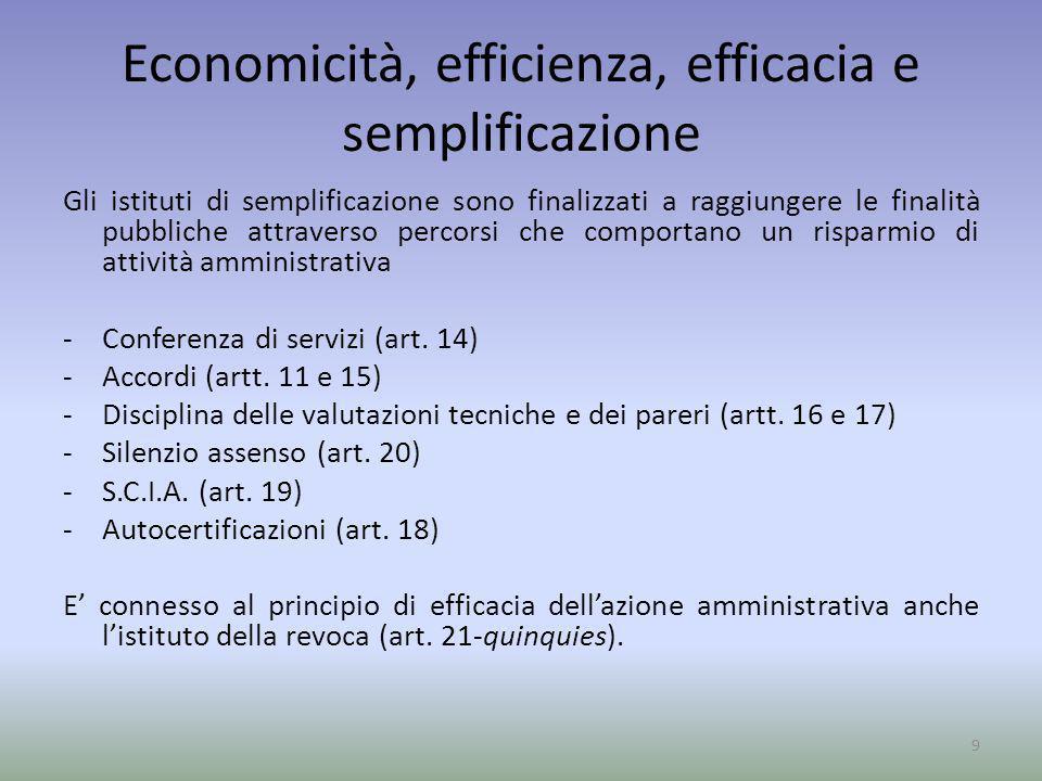 Economicità, efficienza, efficacia e semplificazione Gli istituti di semplificazione sono finalizzati a raggiungere le finalità pubbliche attraverso p