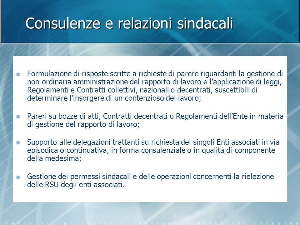 Consulenze e relazioni sindacali Formulazione di risposte scritte a richieste di parere riguardanti la gestione di non ordinaria amministrazione del r