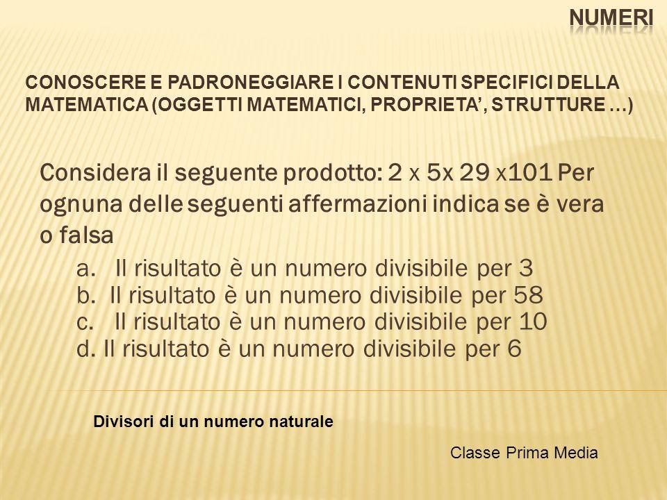 CONOSCERE E PADRONEGGIARE I CONTENUTI SPECIFICI DELLA MATEMATICA (OGGETTI MATEMATICI, PROPRIETA, STRUTTURE …) Considera il seguente prodotto: 2 x 5x 29 x101 Per ognuna delle seguenti affermazioni indica se è vera o falsa a.Il risultato è un numero divisibile per 3 b.