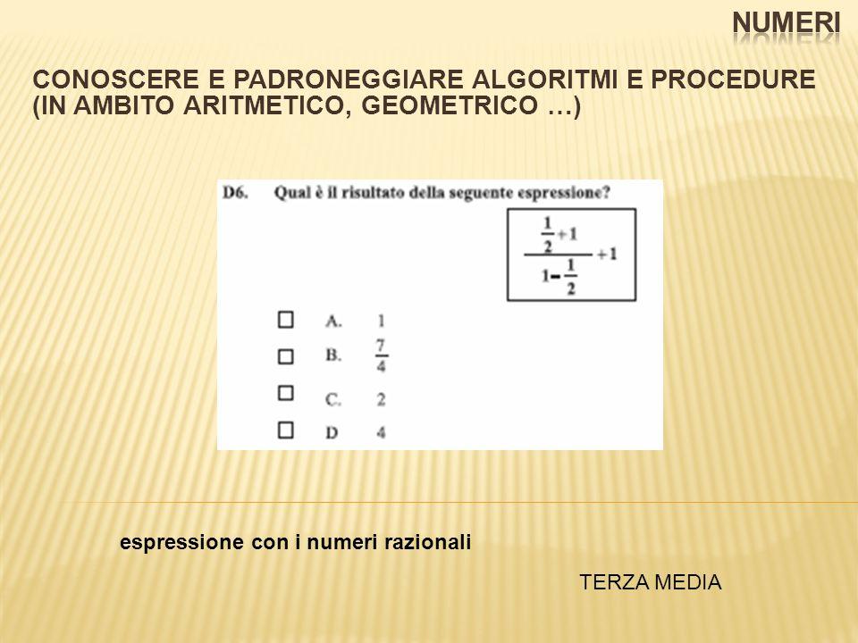 CONOSCERE E PADRONEGGIARE ALGORITMI E PROCEDURE (IN AMBITO ARITMETICO, GEOMETRICO …) espressione con i numeri razionali TERZA MEDIA