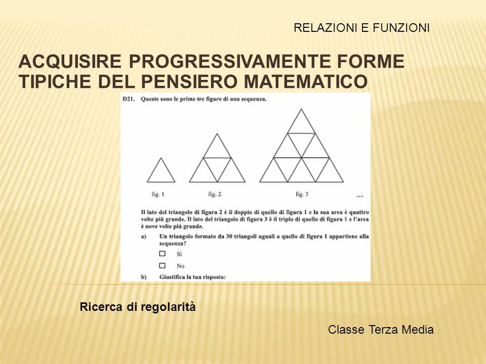 ACQUISIRE PROGRESSIVAMENTE FORME TIPICHE DEL PENSIERO MATEMATICO Ricerca di regolarità Classe Terza Media RELAZIONI E FUNZIONI