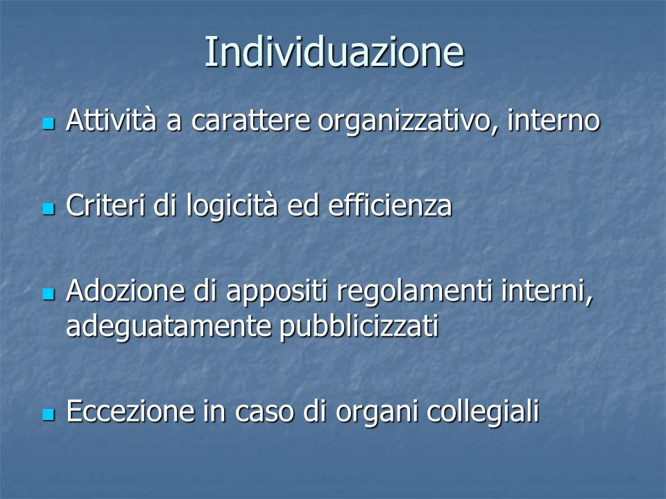 Contenuto Mancanza di una indicazione normativa analitica Mancanza di una indicazione normativa analitica Ipotesi di motivazione anticipata ex art.