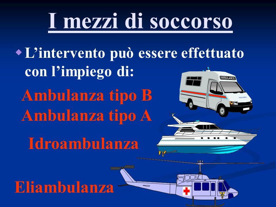 I mezzi di soccorso Lintervento può essere effettuato con limpiego di: Ambulanza tipo B Ambulanza tipo A Idroambulanza Eliambulanza
