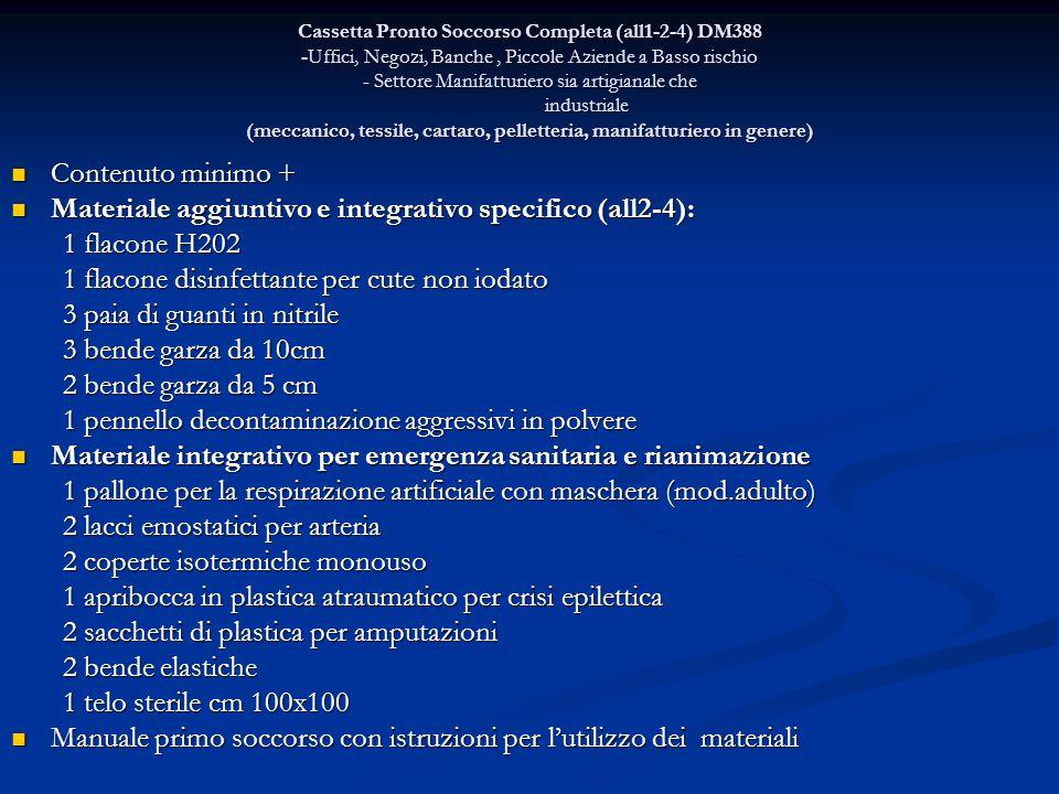 Cassetta Pronto Soccorso Completa (all1-2-4) DM388 -Uffici, Negozi, Banche, Piccole Aziende a Basso rischio - Settore Manifatturiero sia artigianale c