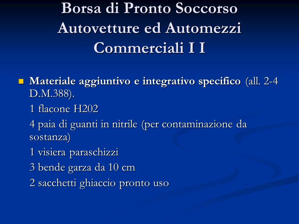 Borsa di Pronto Soccorso Autovetture ed Automezzi Commerciali I I Materiale aggiuntivo e integrativo specifico (all. 2-4 D.M.388). Materiale aggiuntiv
