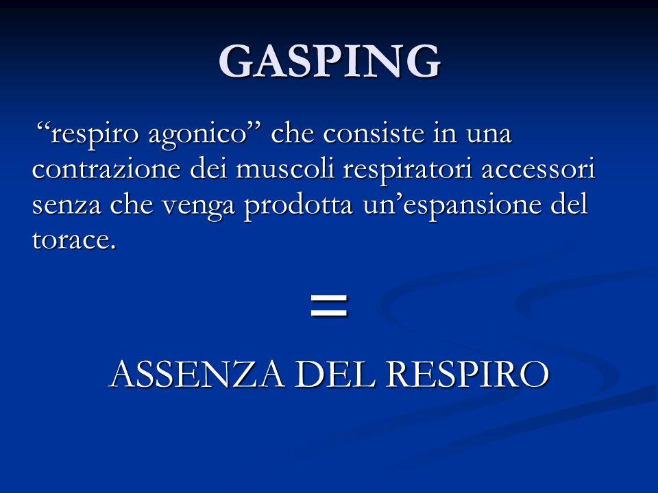 GASPING respiro agonico che consiste in una contrazione dei muscoli respiratori accessori senza che venga prodotta unespansione del torace. respiro ag