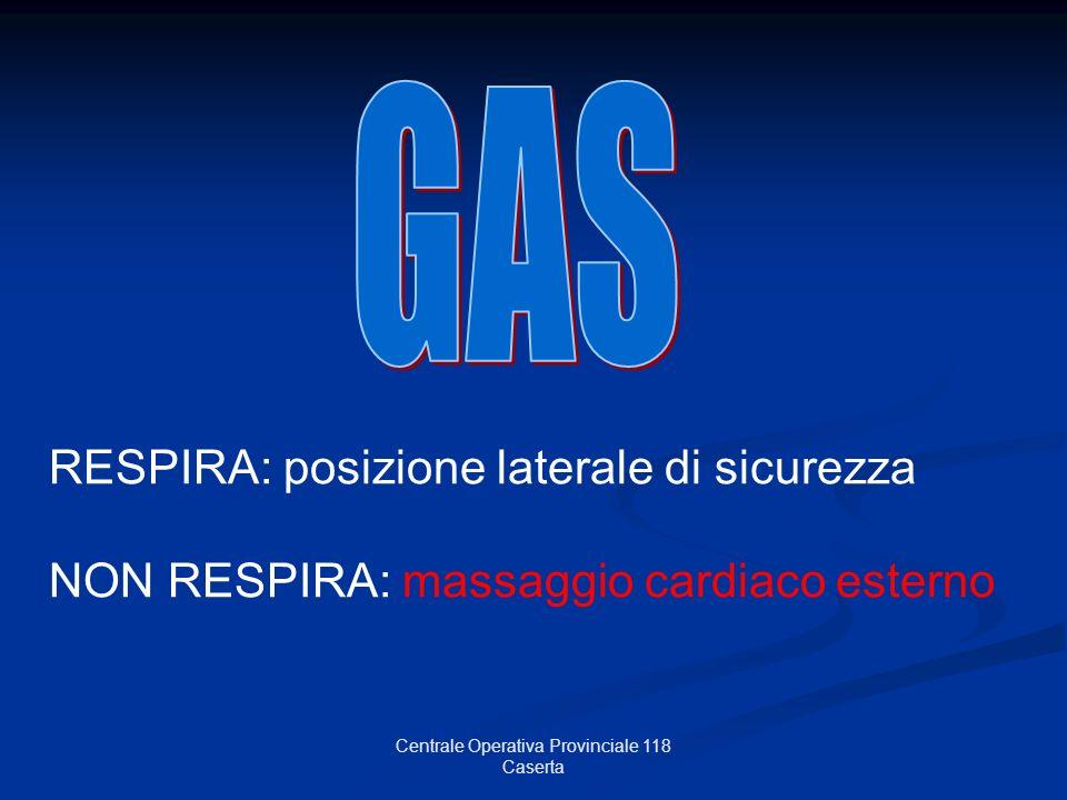 Centrale Operativa Provinciale 118 Caserta RESPIRA: posizione laterale di sicurezza NON RESPIRA: massaggio cardiaco esterno