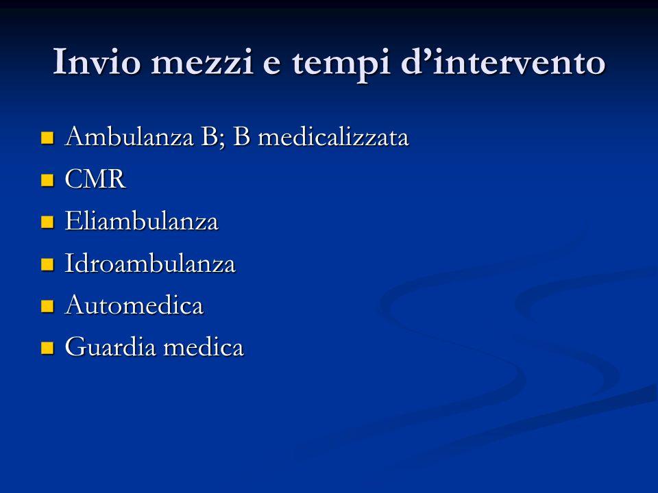 Invio mezzi e tempi dintervento Ambulanza B; B medicalizzata Ambulanza B; B medicalizzata CMR CMR Eliambulanza Eliambulanza Idroambulanza Idroambulanz