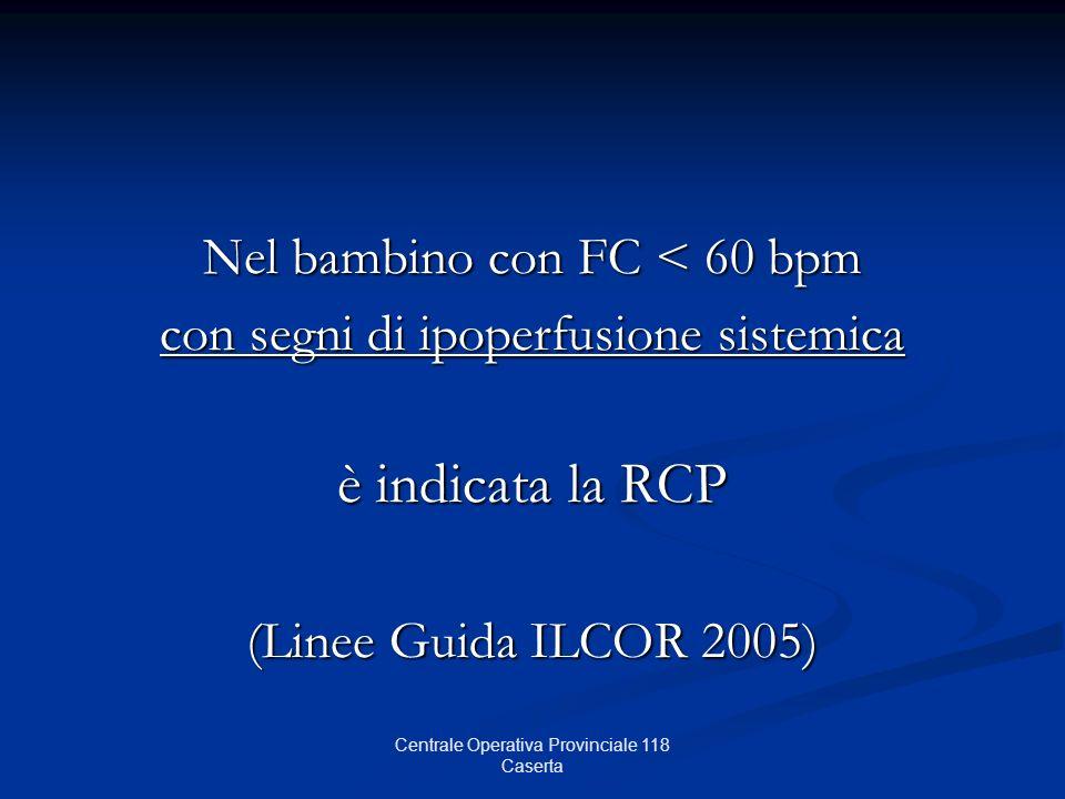 Nel bambino con FC < 60 bpm con segni di ipoperfusione sistemica è indicata la RCP (Linee Guida ILCOR 2005) Centrale Operativa Provinciale 118 Caserta