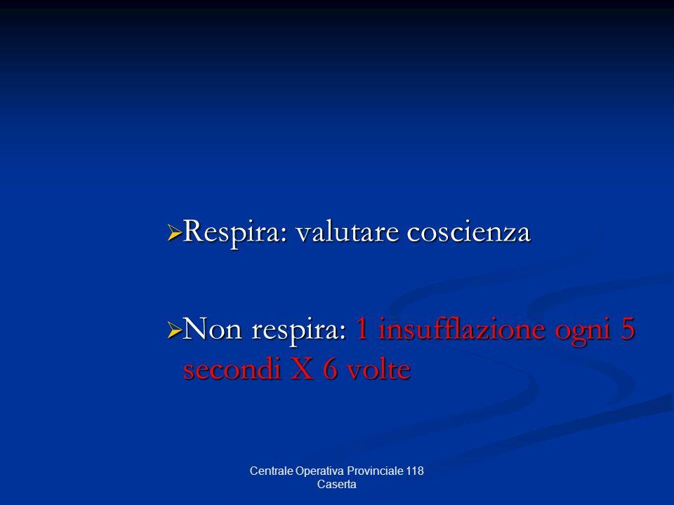 Respira: valutare coscienza Respira: valutare coscienza Non respira: 1 insufflazione ogni 5 secondi X 6 volte Non respira: 1 insufflazione ogni 5 seco