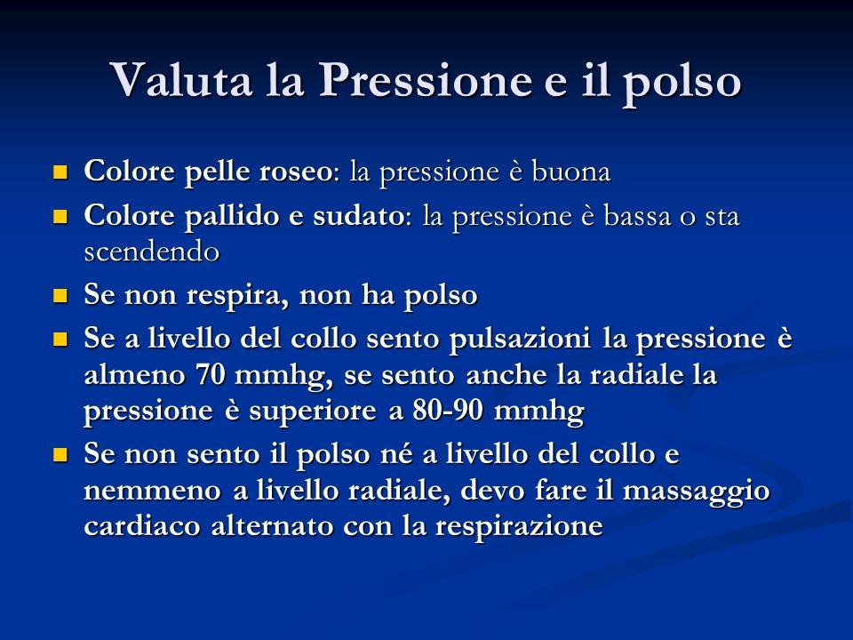 Valuta la Pressione e il polso Colore pelle roseo: la pressione è buona Colore pelle roseo: la pressione è buona Colore pallido e sudato: la pressione