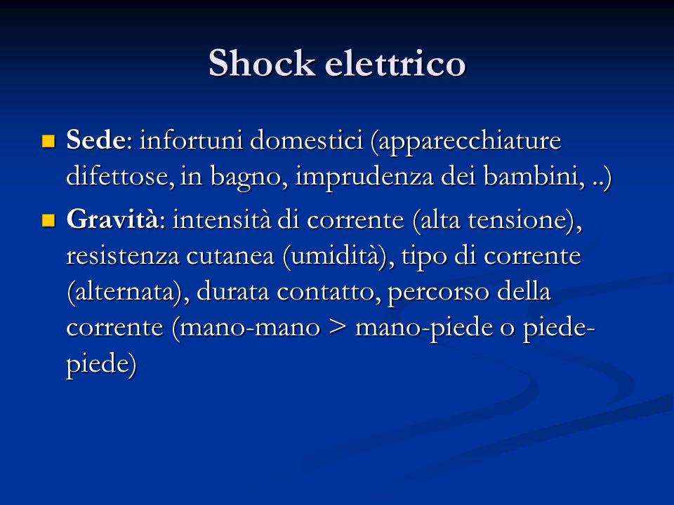 Shock elettrico Sede: infortuni domestici (apparecchiature difettose, in bagno, imprudenza dei bambini,..) Sede: infortuni domestici (apparecchiature