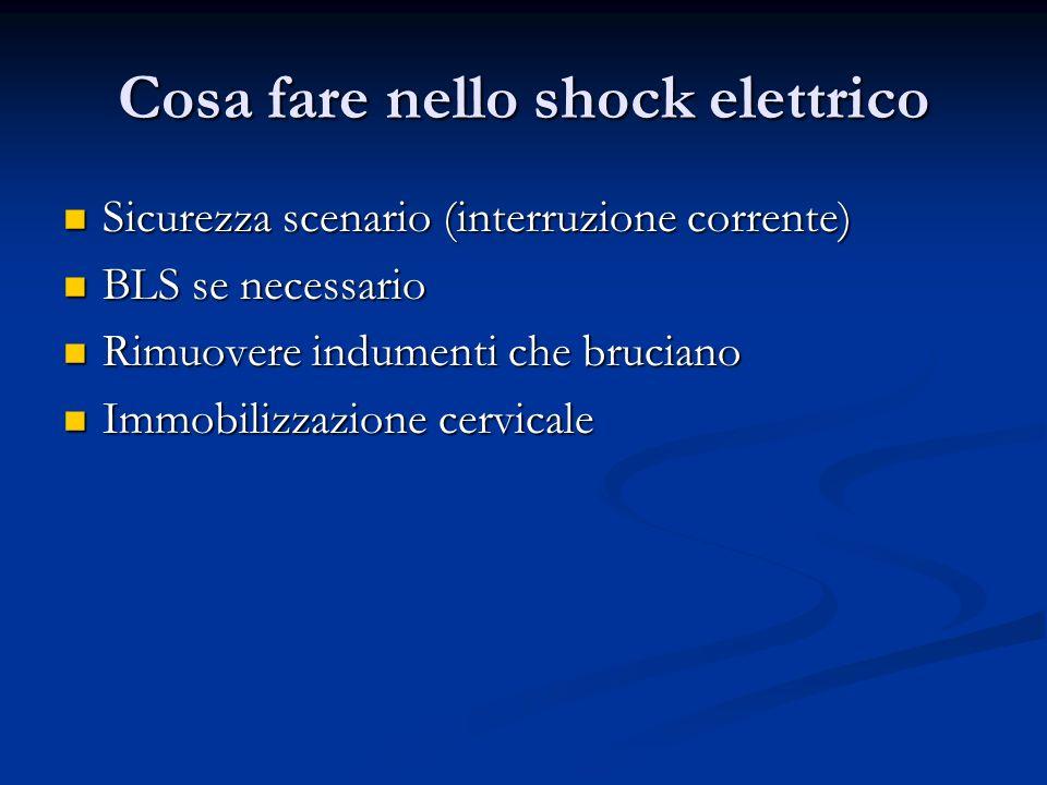 Cosa fare nello shock elettrico Sicurezza scenario (interruzione corrente) Sicurezza scenario (interruzione corrente) BLS se necessario BLS se necessa