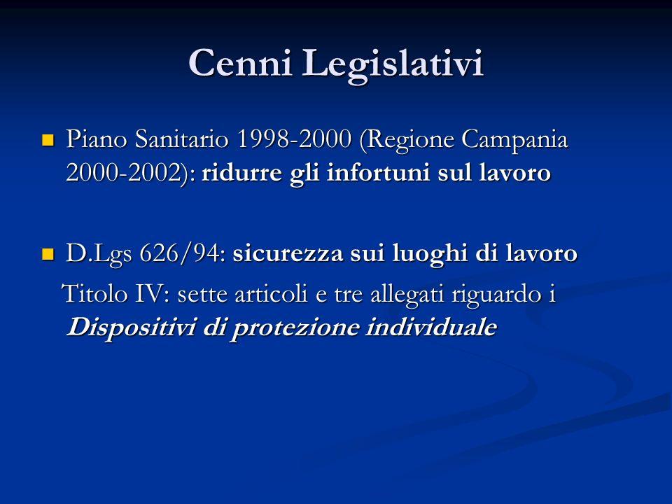 Cenni Legislativi Piano Sanitario 1998-2000 (Regione Campania 2000-2002): ridurre gli infortuni sul lavoro Piano Sanitario 1998-2000 (Regione Campania