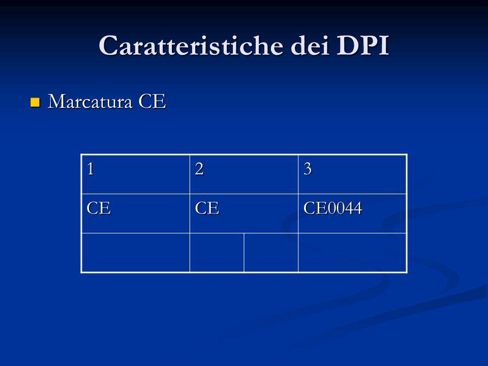 Caratteristiche dei DPI Marcatura CE Marcatura CE 123 CECECE0044