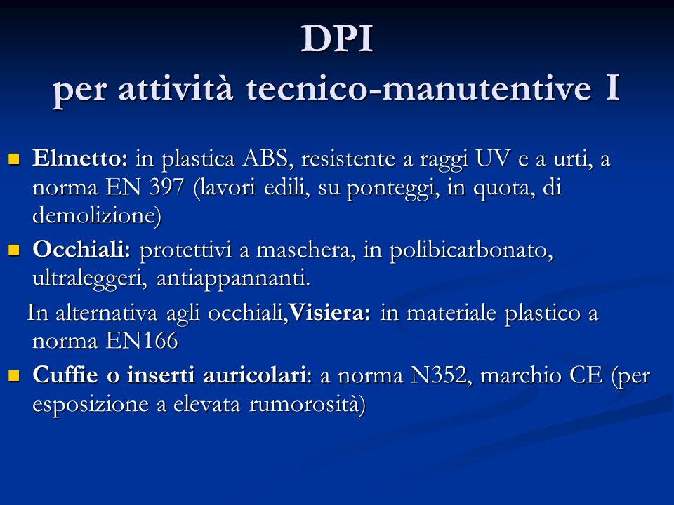 DPI per attività tecnico-manutentive I Elmetto: in plastica ABS, resistente a raggi UV e a urti, a norma EN 397 (lavori edili, su ponteggi, in quota,