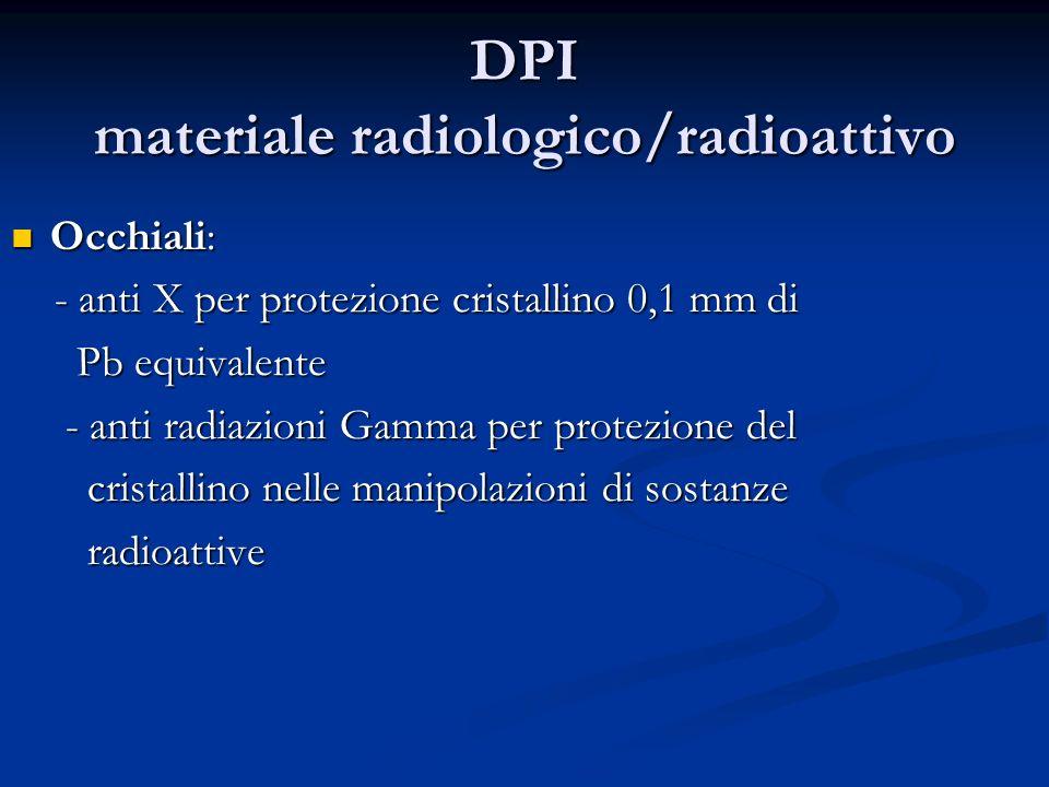 DPI materiale radiologico/radioattivo Occhiali: Occhiali: - anti X per protezione cristallino 0,1 mm di - anti X per protezione cristallino 0,1 mm di