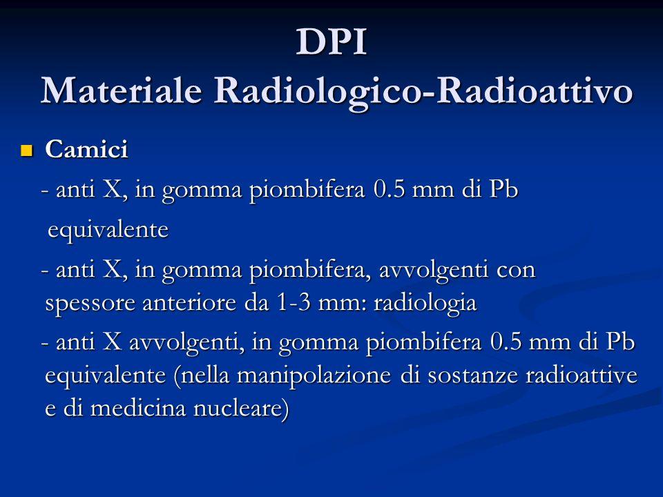 DPI Materiale Radiologico-Radioattivo Camici Camici - anti X, in gomma piombifera 0.5 mm di Pb - anti X, in gomma piombifera 0.5 mm di Pb equivalente
