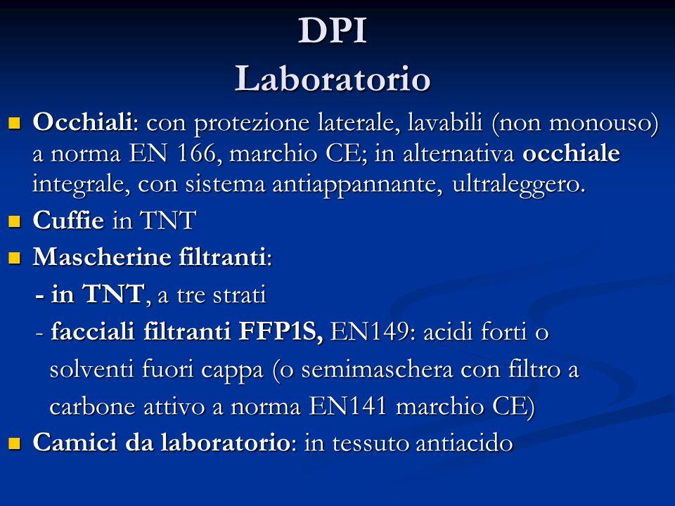 DPI Laboratorio Occhiali: con protezione laterale, lavabili (non monouso) a norma EN 166, marchio CE; in alternativa occhiale integrale, con sistema a