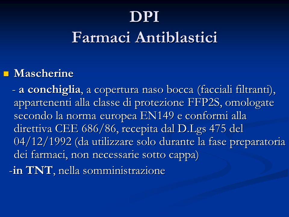 DPI Farmaci Antiblastici Mascherine Mascherine - a conchiglia, a copertura naso bocca (facciali filtranti), appartenenti alla classe di protezione FFP