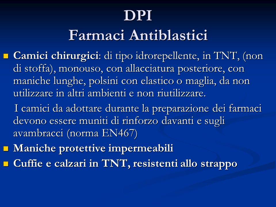 DPI Farmaci Antiblastici Camici chirurgici: di tipo idrorepellente, in TNT, (non di stoffa), monouso, con allacciatura posteriore, con maniche lunghe,