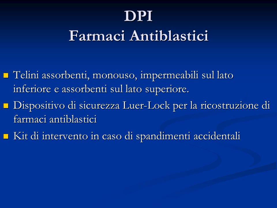 DPI Farmaci Antiblastici Telini assorbenti, monouso, impermeabili sul lato inferiore e assorbenti sul lato superiore. Telini assorbenti, monouso, impe