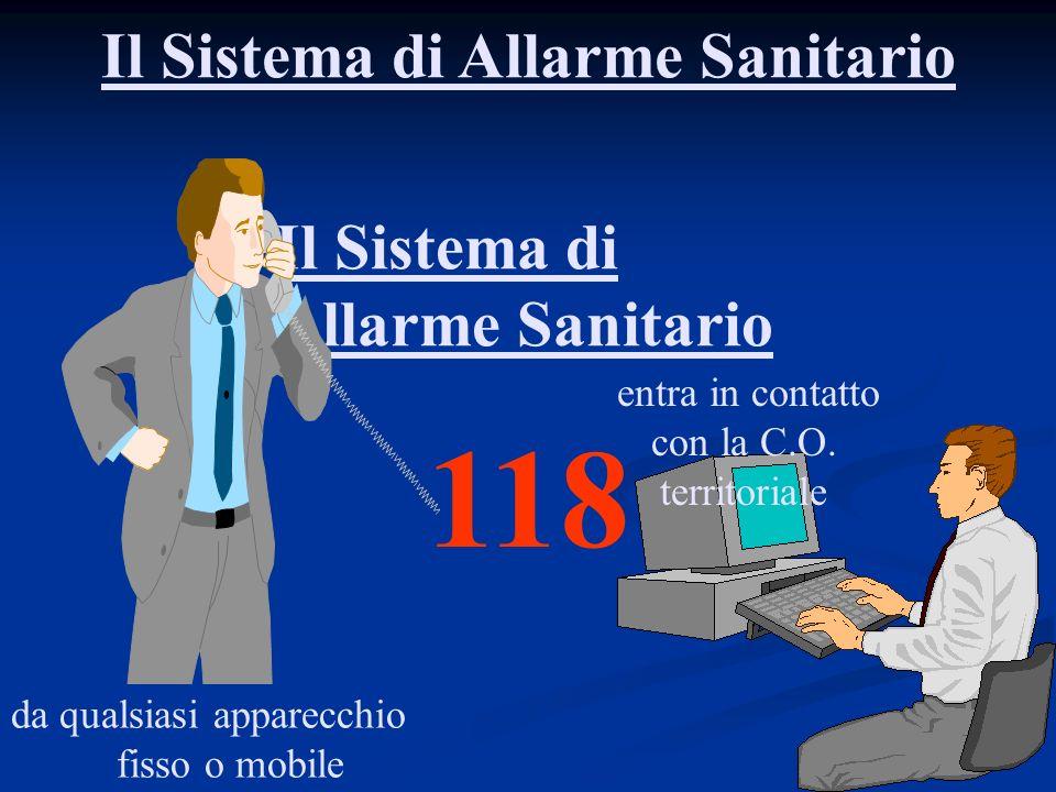 Il Sistema di Allarme Sanitario Il Sistema di Allarme Sanitario 118 da qualsiasi apparecchio fisso o mobile entra in contatto con la C.O. territoriale