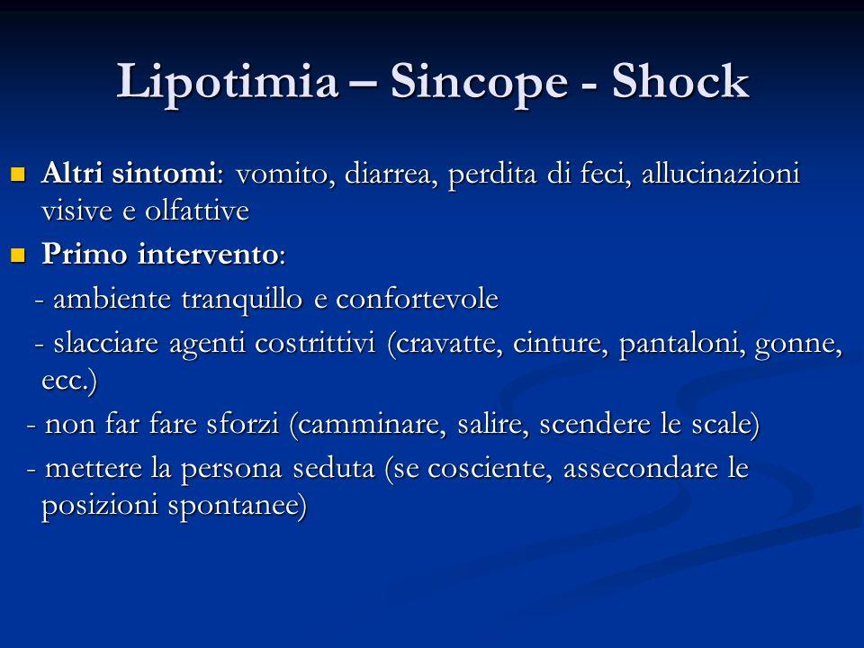 Lipotimia – Sincope - Shock Altri sintomi: vomito, diarrea, perdita di feci, allucinazioni visive e olfattive Altri sintomi: vomito, diarrea, perdita