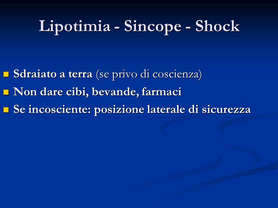 Lipotimia - Sincope - Shock Sdraiato a terra (se privo di coscienza) Sdraiato a terra (se privo di coscienza) Non dare cibi, bevande, farmaci Non dare