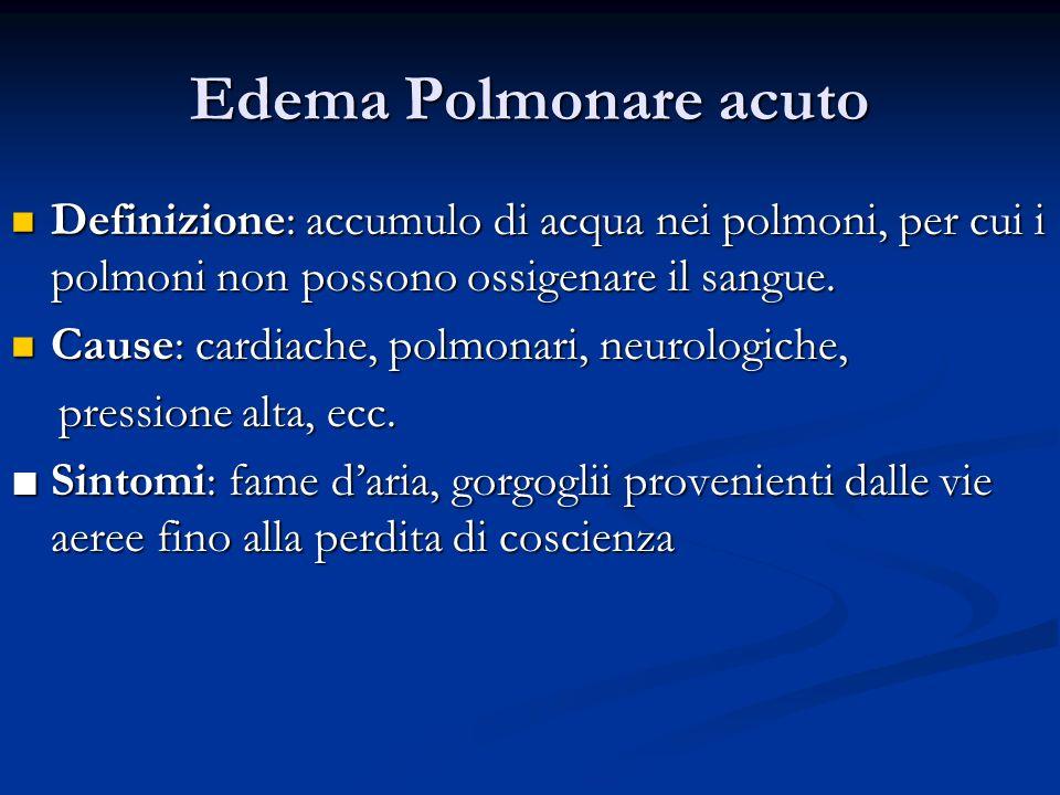 Edema Polmonare acuto Definizione: accumulo di acqua nei polmoni, per cui i polmoni non possono ossigenare il sangue. Definizione: accumulo di acqua n