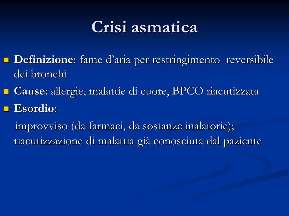 Crisi asmatica Definizione: fame daria per restringimento reversibile dei bronchi Definizione: fame daria per restringimento reversibile dei bronchi C