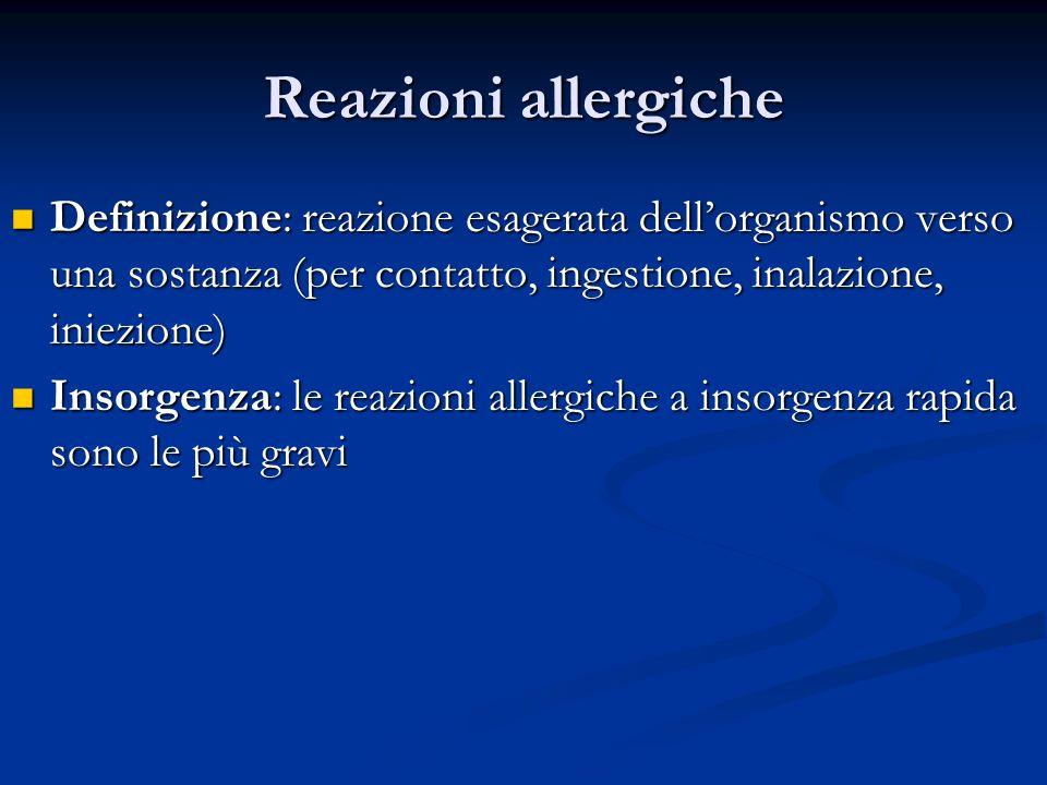 Reazioni allergiche Definizione: reazione esagerata dellorganismo verso una sostanza (per contatto, ingestione, inalazione, iniezione) Definizione: re