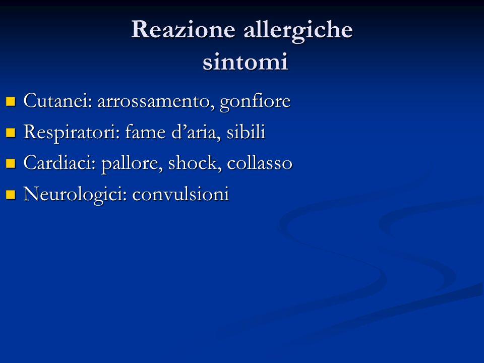 Reazione allergiche sintomi Cutanei: arrossamento, gonfiore Cutanei: arrossamento, gonfiore Respiratori: fame daria, sibili Respiratori: fame daria, s